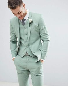 Find the best selection of ASOS DESIGN wedding super skinny suit jacket in sage green linen. Shop today with free delivery and returns (Ts&Cs apply) with ASOS! Casual Wedding Suit, Green Wedding Suit, Groom Tuxedo Wedding, Sage Green Wedding, Wedding Dress Men, Wedding Tuxedos, Prom Tuxedo, Wedding Poses, Summer Wedding Suits