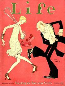 Life magazine cover by John Held, artist associated with the Jazz Age. Jazz Age, Vintage Glam, Vintage Art, Upcycled Vintage, Art Nouveau Pintura, Anita Berber, Cover Art, Moda Art Deco, Journal Vintage