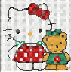 Hello Kitty předlohy k vyšívání