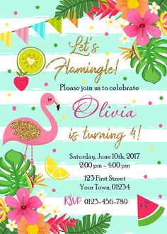 Best 12 Pink Mint Gold Flamingo Birthday Party Invitation, Flamingo Pool Party Invitation, Lets Flamingle Hawaiian Tropical Birthday Invitation Size or 300 dpi High Resolution digital file (JPEG). Digital files can easily be printed at home or at a Glitter Birthday, Flamingo Birthday, Flamingo Party, Flamingo Pool, Luau Birthday Invitations, Pink Invitations, Party Fiesta, Tropical Party, Pink Glitter