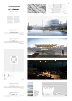 Image 4 of 7 from gallery of 6 Winners Selected for OISTAT Competition to Design a Floating Theatre in Germany. A Floating Theatre for the Crackwalker / Uros Novakovic, Sebastian Bartnicki and Erin Fleck. Image Courtesy of OISTAT Condominium Architecture, Architecture Jobs, Studios Architecture, Landscape Architecture, Creative Architecture, Interior Design Presentation, Architecture Presentation Board, Presentation Boards, Architecture Portfolio Layout