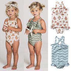 HANANei Baby Swimwear Girl Swimsuit Bow Ruffle Bathing Suit One Piece Dot Swimwear