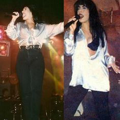 New year new Selena( left is dec 1994 right is jan 1995) she wore tights with the shirt second time she wore this shirt #selenaquintanilla#selenaquintanillaperez