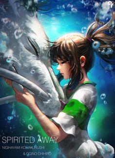 spirited away a film by hayao miyazaki ❤️ haku and chihiro Hayao Miyazaki, Studio Ghibli Art, Studio Ghibli Movies, Anime Body, Manga Anime, Anime Quotes Tumblr, Anime Pokemon, Anime Plus, Chihiro Y Haku