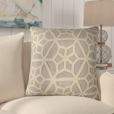 Rosecliff Heights Bonham Geometric Pattern Polyester Throw Pillow Color: Grey / Taupe