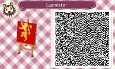 HOUSE LANNISTER. GAME OF THRONES. ANIMAL CROSSING NEW LEAF. QR CODE. ACNL. PINNED BY Stephy Sama