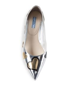 Image result for prada silver flat shoe heart