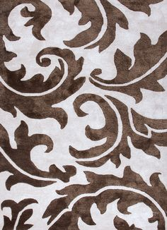 White rug with brown modern design. Free Shipping.