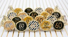 60th Birthday Party Decorations - Gold & Black - Stickers for Hershey Kisses (Set of 324)