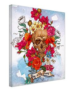 Modern Framed Skull And Flowers Day Of The Dead Canvas Ar...