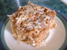 Oatmeal Cake topped with Coconut, Pecans and Brown Sugar