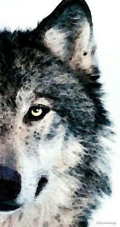 Digital painting of a wolf by Sharon Cummings.