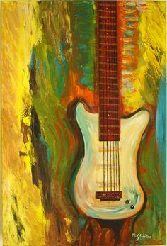 Chitarra elettrica stilizzata in acrilico su tela 40x60