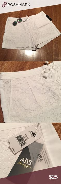 """ABS lace white drawstring shorts! Super cute pull on drawstring white lace shorts with two pockets. 4.5"""" inseam 12"""" rise. Waist has elastic in back drawstring in front. ABS Allen Schwartz Shorts"""