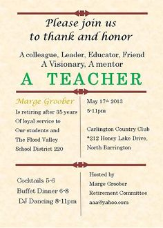 Teacher Retirement Invitation  Retirement Party
