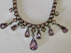 1950s LILAC DIAMANTE DROP necklace by allthingsvintage77 on Etsy