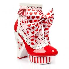 c7cb4d8506f Irregular Choice Rosie With Love 3941-05A Heart Heel Platform Boots - Red
