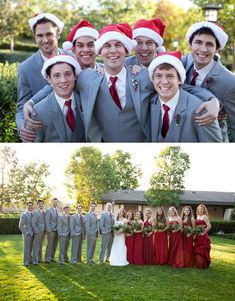 Christmas Wedding » Wheeland Photography Groomsmen in Santa hats. Red and grey wedding.
