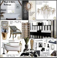 Interior Decorating, Decorating Ideas, Interior Design, Starling, Powder  Rooms, Euro, Glamour, Black White, Bathroom