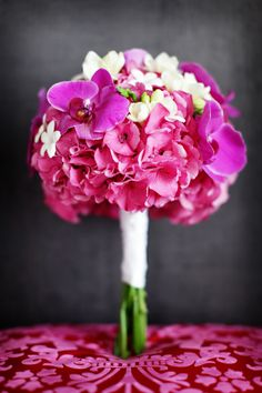Pink wedding floral bouquet, photo by Chris plus Lynn Photographers
