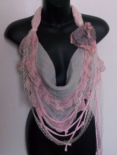 Pink grey lace infinity feminine romantic removable by LamaLuz, $38.00