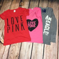 "Shirt Bundle •Red Shirt• 26 1/2 inch long t-shirt by Victoria's Secret, says ""Love Pink"", super comfy  •Pink Shirt• 25 inch long t-shirt by Victoria's Secret with a 7 inch v-neck, it has a heart that says ""Love Pink""  •Gray Shirt• 26 inch long-sleeved (23 inches) shirt by American Eagle Outfitters with a 7 inch v-neck, it says ""AM Eagle"" on the side Victoria's Secret Tops"