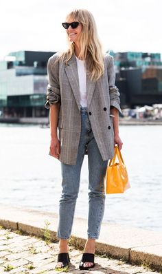 Plaid Blazer styled with denim jeans and low heeled mules