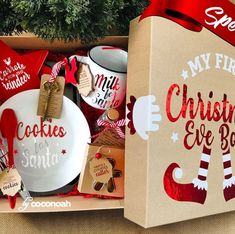 Personalised Gift Boxes with a big WOW Factor! Xmas Eve Boxes, Christmas Gift Box, Christmas Mood, Homemade Christmas Gifts, Christmas Goodies, Christmas Gift Baskets, Christmas Gifts For Friends, All Things Christmas, Holiday Gifts