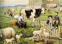 """Dispaint Full Square/Round Drill DIY Diamond Painting """"Cartoon farm scenery"""" Embroidery Cross Stitch Home Decor Vintage Illustration, Good Old Times, Vintage School, Dutch Artists, Historical Pictures, Illustrations, Vintage Cards, Farm Animals, Vintage Posters"""
