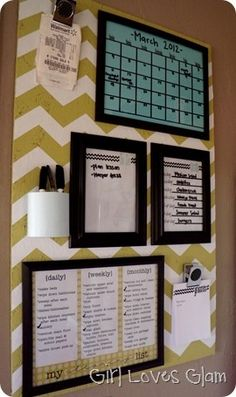 Another Chevron pin board.  Except this one we could find wrapping paper and cover it an I like the black framing and the different color sheets behind it.
