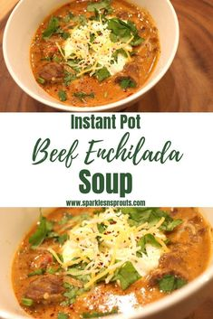 Instant Pot Beef Enchilada Soup is the perfect cold weather dinner.  It is ready in under a hour and is KETO/Low Carb friendly.  It is a new family favorite in my home! . . #keto #ketolife #ketogirl #instantpot #beef #enchilada #soup #sparklesnsprouts