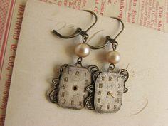 vintage watch face earrings