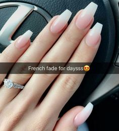 Nail - French Fade Nail Designs are one of the most popular nail shapes for women. - - French Fade Nail Designs are one of the most popular nail shapes for women. French Fade Nails, also called French ombre Nails or baby boomer nails, co. Wedding Nails For Bride, Bride Nails, Prom Nails, Plum Wedding, Cuffin Nails, Wedding Manicure, Sparkle Wedding, Wedding Nails Art, Nails For Homecoming