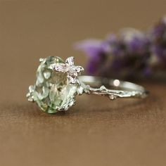 Unique Green Amethyst Ring by 4FireflyCollections on Etsy, $78.00