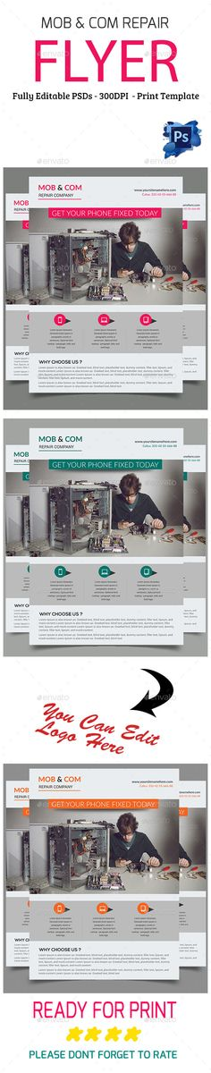 Computer Products Repair Flyer Template  Computer Repair Flyers