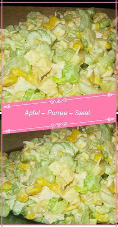 Zutaten: 200 g Porree 2 Äpfel, säuerlich 1 Dose Mais 120 g Käse (Emmentaler),. Fromage Emmental, Chef Salad Recipes, Soup Recipes, Potato Salad, Sauce Tartare, Vegetable Soup Healthy, Stuffed Peppers, Healthy Eating Recipes, Salad