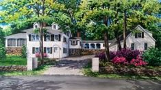 x watercolor house portrait of residence in Chappaqua, New York built in Copyright 2017 Richelle Flecke Chappaqua New York, Watercolor Portraits, Watercolor Paintings, New York Homes, Custom Homes, Mansions, Landscape, House Styles, Gallery