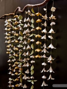 DIY Paper Flower Garland backdrop incorporates real or tissue paper flowers that are strung from a stick or firm reed and suspended Paper Flower Garlands, Paper Flower Backdrop, Diy Flowers, Hanging Flowers, Hanging Fabric, Flower Paper, Origami Flowers, Fabric Flowers, Diy Wedding Projects