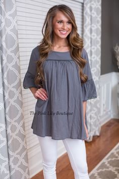 USE DISC. CODE: REPAMIE10 TO SAVE! www.pinklilyboutique.com     It's Been A While Grey/Blue Blouse - The Pink Lily Boutique
