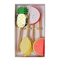 Fruit Party Picks (Set of 24) - Meri Meri Toothpicks - Pineapple, Lemon, Apple…