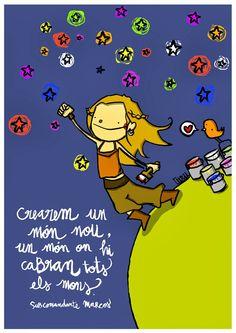 Crearem un món nou, un món on hi cabran tots els nens Positive Phrases, Wise People, Doodle Icon, Turu, Best Natural Skin Care, Cute Doodles, Great Words, Lisa Simpson, Cute Wallpapers