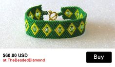 Tribal Design Beaded Cuff Bracelet With Swarovski Crystals And Toggle Clasp