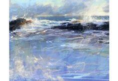 watercolor & pastel Summer evening, high tide by James Bartholomew, www.jamesbartholomew.co.uk