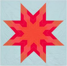 = free pattern = Red Star quilt, free pattern by Cortney Heimerl for Robert Kaufman Lone Star Quilt, Star Quilts, Quilt Blocks, Free Paper Piecing Patterns, Star Quilt Patterns, Christmas Quilting Projects, Batik Quilts, Machine Quilting Designs, Contemporary Quilts