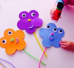 Basteln mit Kindern unter 3 Jahren frühling-moosgummi-pfeifenreiniger