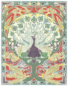 Art Nouveau Peacock No. 1 Giclee Art Print von BelleArtPrints