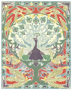 Art Nouveau Peacock No. 1, Giclee Art Print, Poster, Home Decor, Wall Art, Arts and Crafts Era, Craftsman, Mission Style Art Print