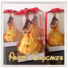 convite maçãs cobertas de chocolate e decoradas como princesa Bela e a Fera. http://instagram.com/akemicupcakes