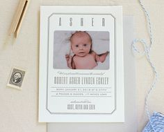Vintage style letterpress printed birth announcement with a modern flair.