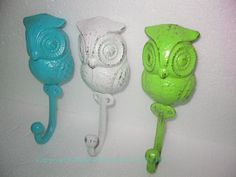Owl Hook/Cast Iron Hook / Nursery / Bright Pink / Shabby White / Lime Green / Bath Hook / Fixture / Girls Room / Towel Hook. $36.00, via Etsy.